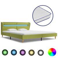 vidaXL Bett mit LED und Memory-Schaum-Matratze Grün Stoff 180×200 cm