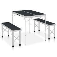 vidaXL Klappbarer Campingtisch mit 2 Sitzbänken Aluminium Grau