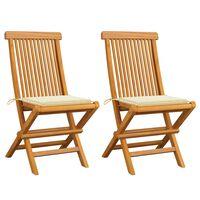vidaXL Gartenstühle mit Cremeweißen Kissen 2 Stk. Massivholz Teak