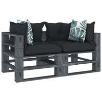 vidaXL Garten-Palettensofa 2-Sitzer mit Anthrazit- und Blumenkissen Holz