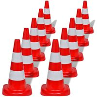 vidaXL Verkehrskegel 10 Stk. Reflektierend Rot und Weiß 50 cm