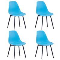 vidaXL Esszimmerstühle 4 Stk. Blau PP