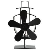 vidaXL Wärmebetriebener Kaminventilator 5 Blätter Schwarz