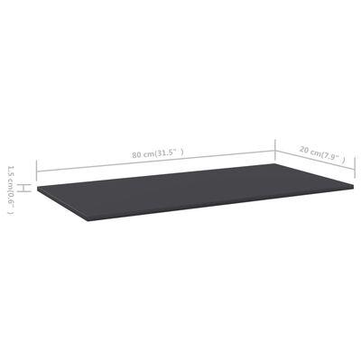 vidaXL Bücherregal-Bretter 4 Stk. Grau 80x20x1,5 cm Spanplatte, Grey