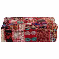vidaXL Pouf Flickwerk Quadrat Baumwolle Handgefertigt 50×50×12 cm Rot