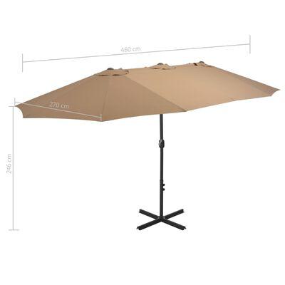 vidaXL Sonnenschirm mit Aluminium-Mast 460x270 cm Taupe