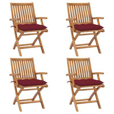 vidaXL Klappbare Gartenstühle mit Kissen 4 Stk. Massivholz Teak, Wine_red