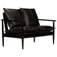 vidaXL 2-Sitzer-Sofa Leder mit Akazienholz Schwarz