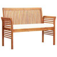 vidaXL 2-Sitzer Gartenbank mit Kissen 120 cm Massivholz Akazie