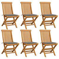 vidaXL Gartenstühle mit Grauen Kissen 6 Stk. Massivholz Teak , Grau