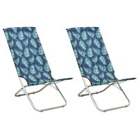 vidaXL Klappbare Strandstühle 2 Stk. Blattmuster Stoff