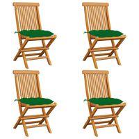 vidaXL Gartenstühle mit Grünen Kissen 4 Stk. Massivholz Teak
