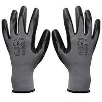 Arbeitshandschuhe Nitril 1 Paar Grau und Schwarz Größe 9/L