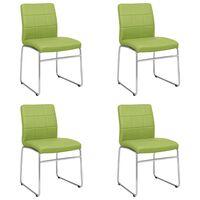 vidaXL Esszimmerstühle 4 Stk. Grün Kunstleder