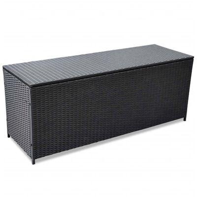 vidaXL Garden-Auflagenbox Schwarz 150x50x60 cm Poly Rattan