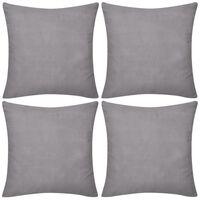 4 graue Kissenbezüge Baumwolle 80 x 80 cm