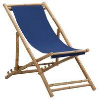 vidaXL Liegestuhl Bambus und Segeltuch Marineblau