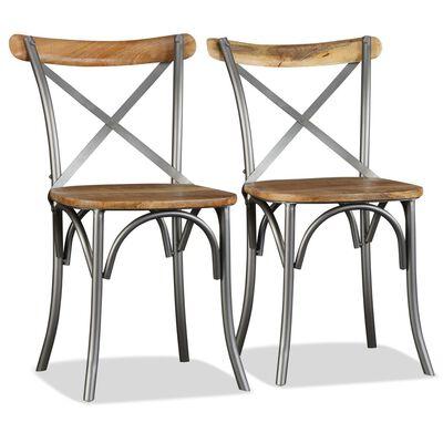vidaXL Esszimmerstühle 6 Stk. Mangoholz Massiv und Stahl-Kreuzlehne