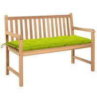 vidaXL Gartenbank mit Hellgrüner Auflage 120 cm Massivholz Teak