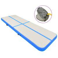 vidaXL Aufblasbare Gymnastikmatte mit Pumpe 500x100x15 cm PVC Blau