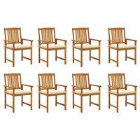 vidaXL Gartenstühle mit Kissen 8 Stk. Massivholz Akazie