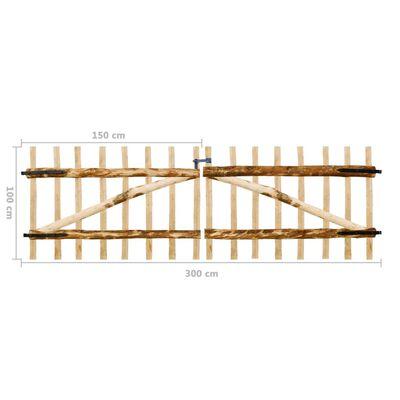 vidaXL Zauntor Doppelflügelig Haselnussholz 300×100 cm