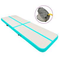 vidaXL Aufblasbare Gymnastikmatte mit Pumpe 300x100x15 cm PVC Grün
