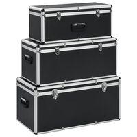vidaXL Aufbewahrungskoffer 3 Stk. Schwarz Aluminium