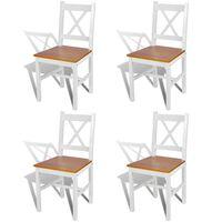 vidaXL Esszimmerstühle 4 Stk. Weiß Kiefernholz