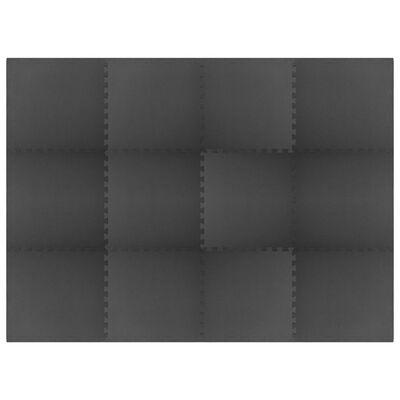 vidaXL Bodenmatten 12 Stk. 4,32 m² EVA-Schaum Schwarz