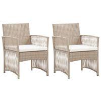 vidaXL Gartensessel mit Sitzkissen 2 Stk. Beige Poly Rattan