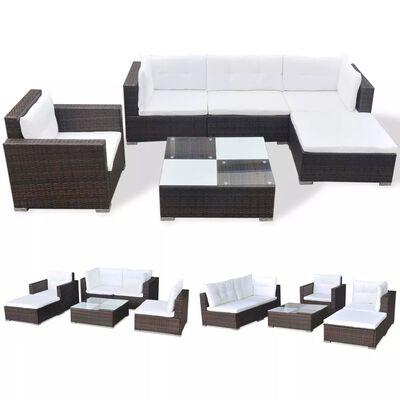 vidaXL 6-tlg. Garten-Lounge-Set mit Auflagen Poly Rattan Braun, Braun