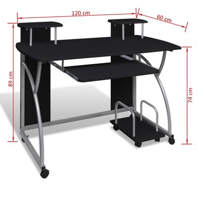 Computertisch PC Tisch Mobiler Computerwagen Bürotisch Rollen schwarz, Black