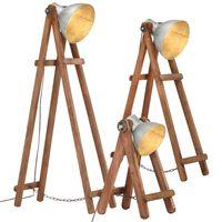 vidaXL Stehlampen 3 Stk. Silbern E27 Mango Massivholz