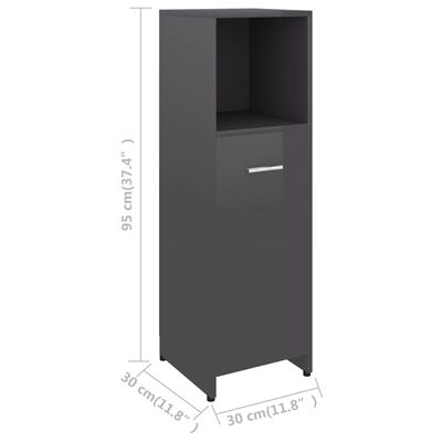 vidaXL Badezimmerschrank Hochglanz-Grau 30x30x95 cm Spanplatte