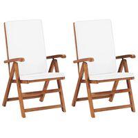 vidaXL Garten-Liegestühle 2 Stk. mit Auflagen Massivholz Teak