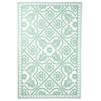 Esschert Design Outdoor-Teppich 182x122 cm Fliesendesign Grün und Weiß