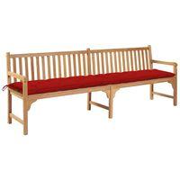 vidaXL Gartenbank mit Roter Auflage 240 cm Massivholz Teak