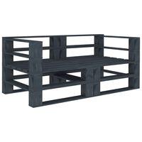 vidaXL Garten-Palettensofa Grau 2-Sitzer Holz