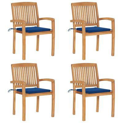 vidaXL Stapelbare Gartenstühle mit Kissen 4 Stk. Massivholz Teak