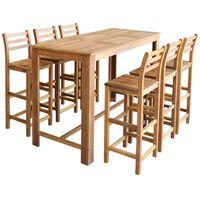 vidaXL Bartisch und Stuhl-Set 7-tlg. Akazienholz Massiv