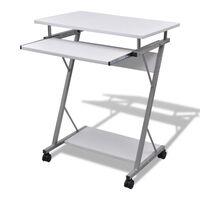 Computertisch Computerwagen PC Tisch Bürotisch Laptop auf Rollen weiß, White