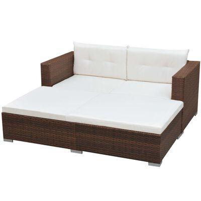 vidaXL 3-tlg. Garten-Lounge-Set mit Auflagen Poly Rattan Braun