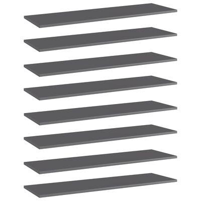 vidaXL Bücherregal-Bretter 8 Stk. Hochglanz-Grau 100x30x1,5 cm