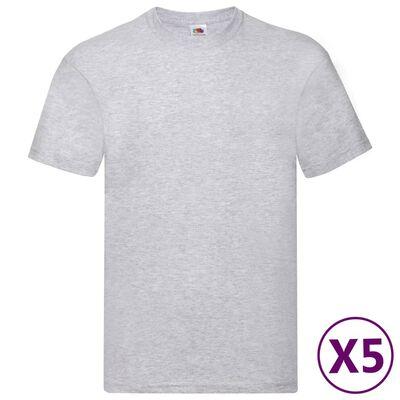 Fruit of the Loom Original T-Shirts 5 Stk. Grau XL Baumwolle
