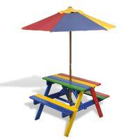 vidaXL Kinder-Picknicktisch mit Bänken Sonnenschirm Mehrfarbig Holz