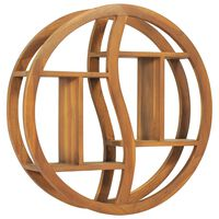 vidaXL Wandregal Yin und Yang 60x15x60 cm Teak Massivholz