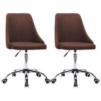 vidaXL Bürostühle 2 Stk. Stoff Braun
