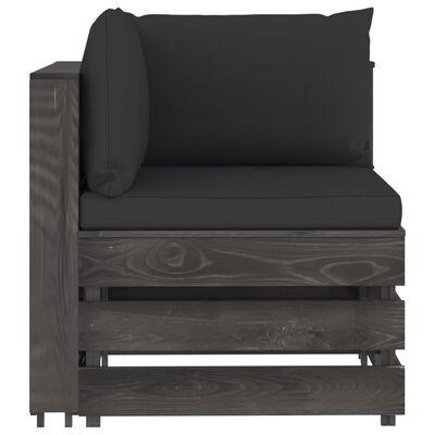 vidaXL 5-tlg. Garten-Lounge-Set mit Kissen Grau Imprägniertes Holz, Blackandgrey