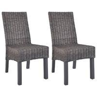 vidaXL Esszimmerstühle 2 Stk. Braun Kubu Rattan und Mango Holz